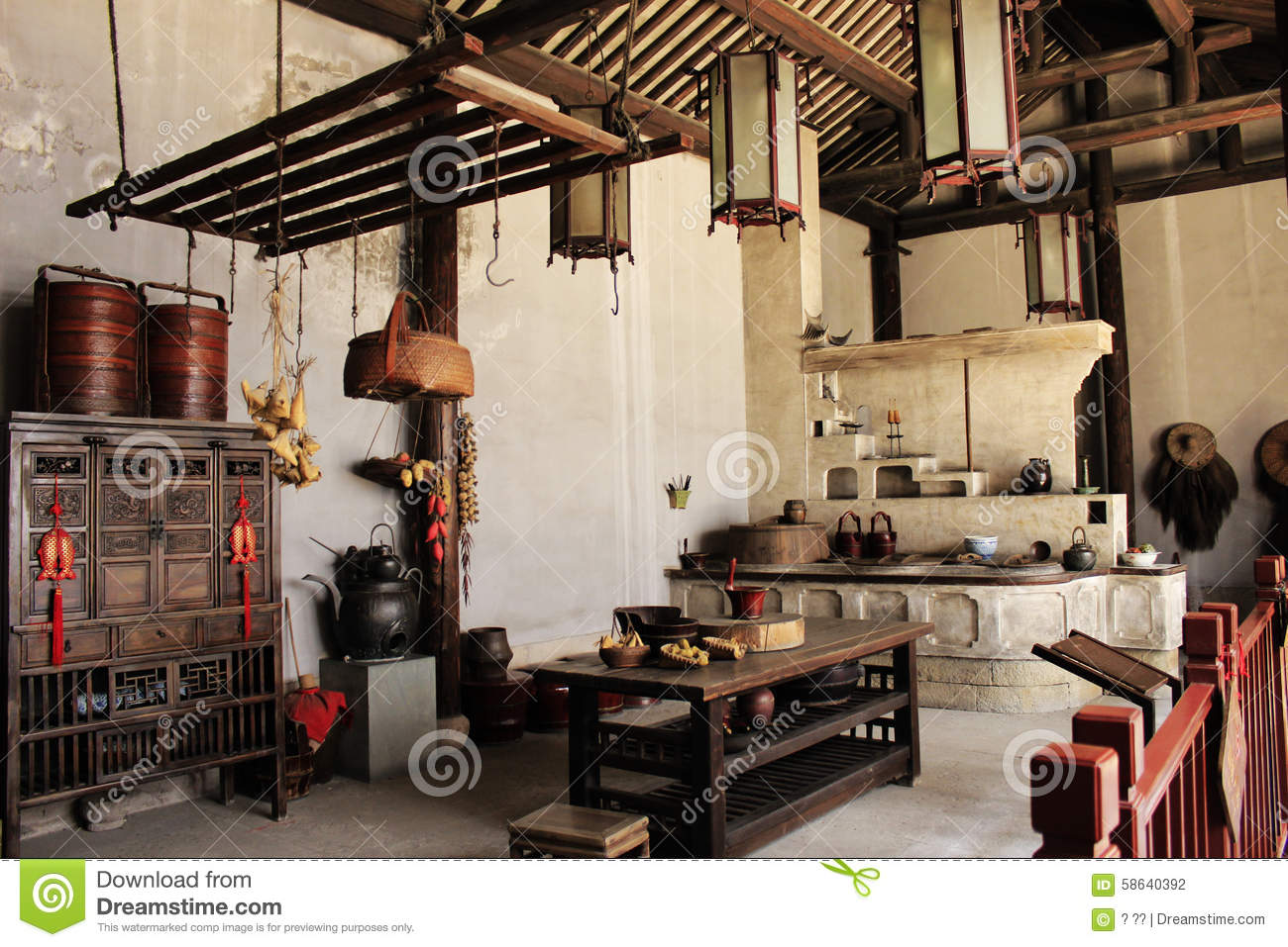 Great Traditional Chinese Kitchen Stock Photography