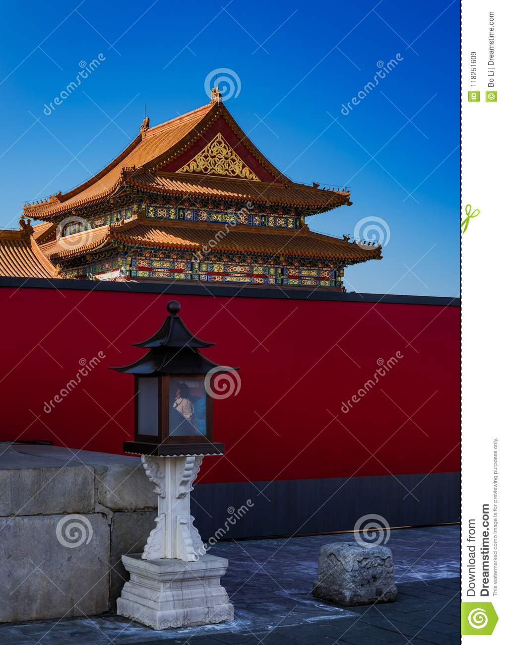 Traditional Chinese Lanterns and Buildings in the Forbidden City