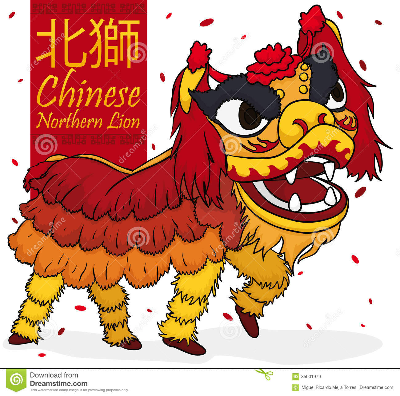 7c3aeee2b Poster with traditional lion dancers written in traditional Chinese  performing a display of Northern style with confetti.