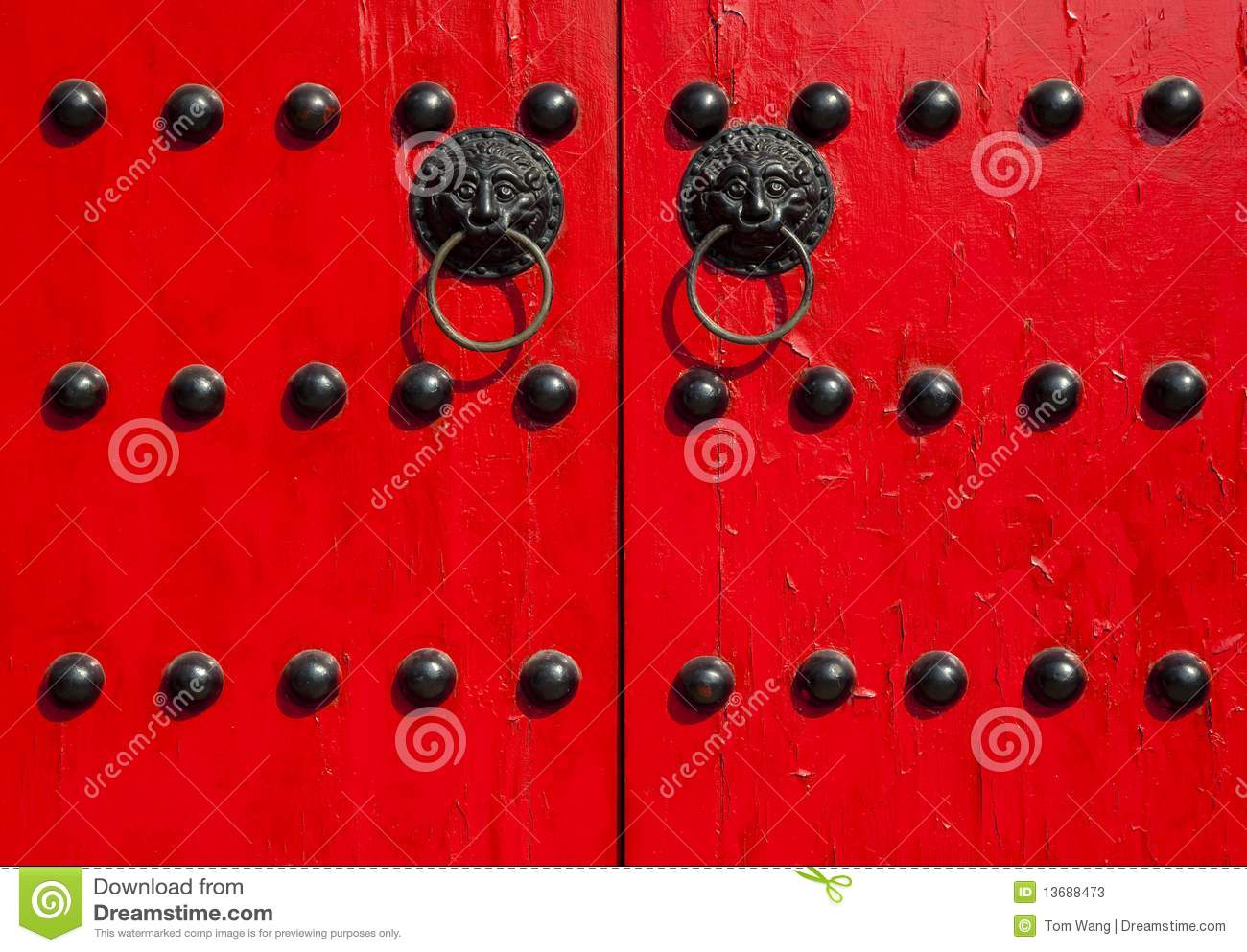 Traditional Chinese Old Red Door Stock Image Image Of Japanese