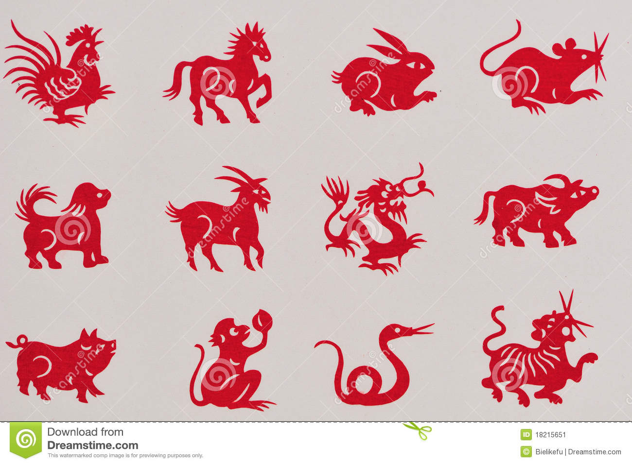 Traditional Chinese Paper Cut The 12 Animals Stock Image Image 18215651