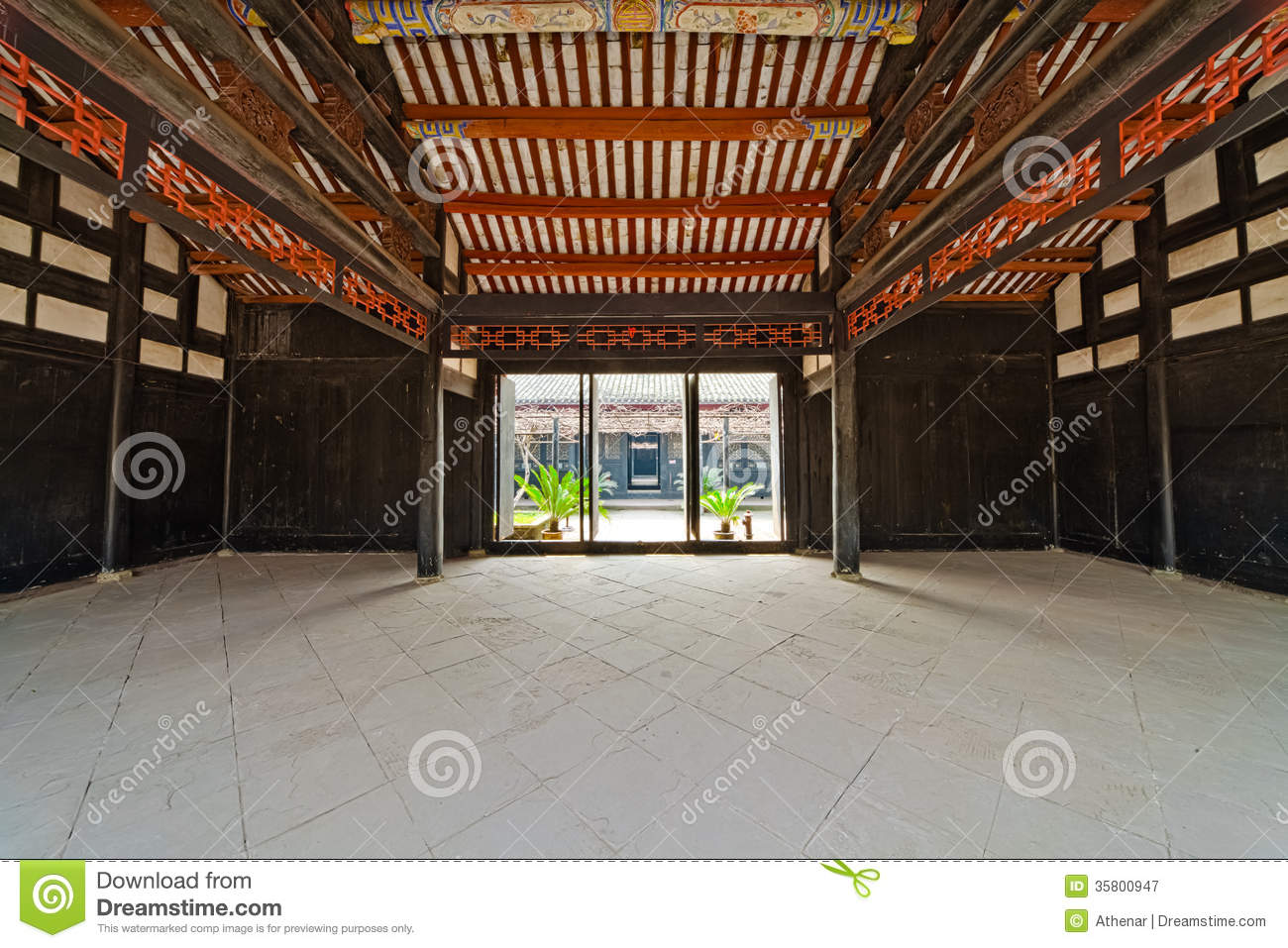 Traditional chinese reception hall royalty free stock - Culture indoor nimes ...