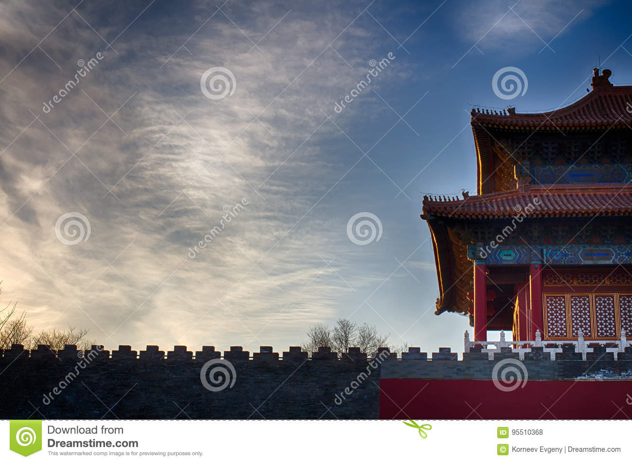 traditional chinese roof national style ready bright banner stock