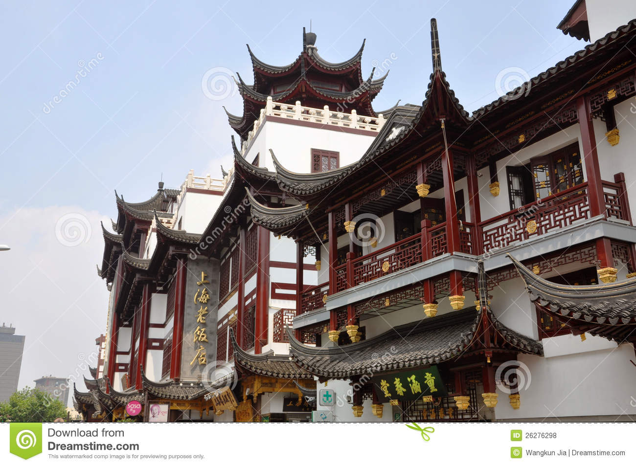 traditional chinese roof shanghai china editorial stock photo