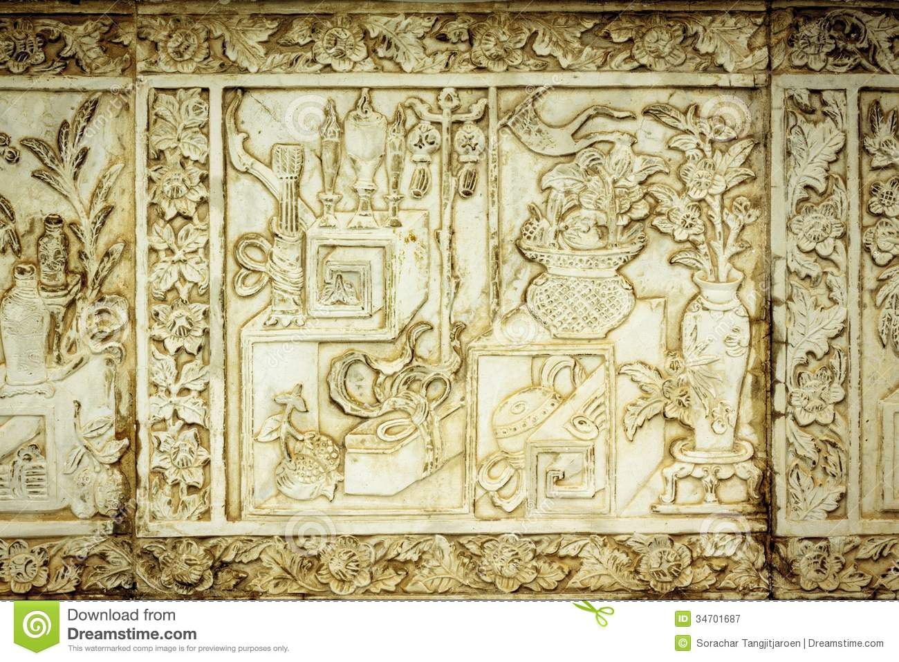 Traditional Chinese Stone Engrave Art Wall. Stock Image - Image of ...