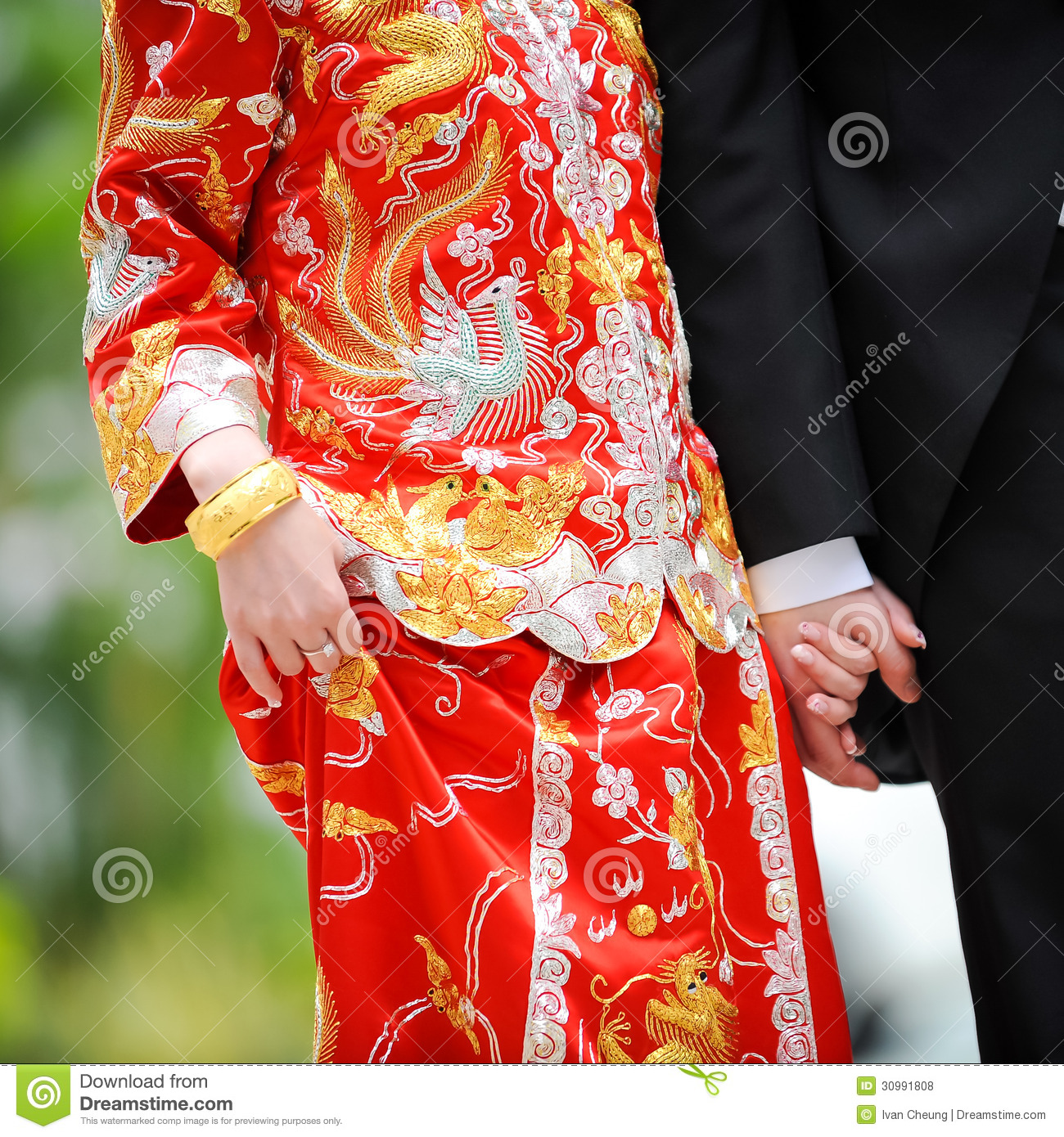 Traditional chinese wedding dress and western tuxedo for Traditional chinese wedding dress hong kong