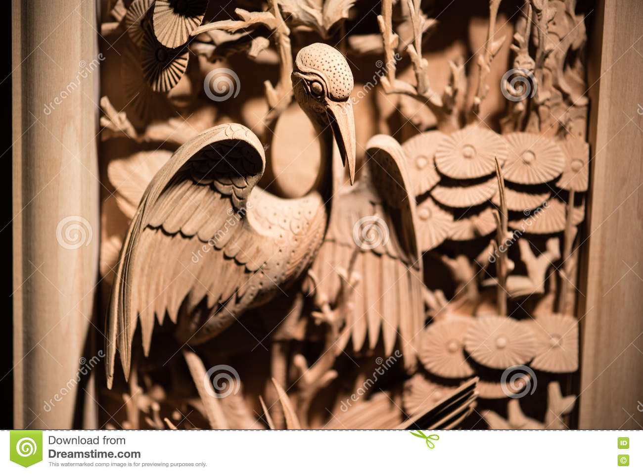 Traditional Chinese woodcarving of bird