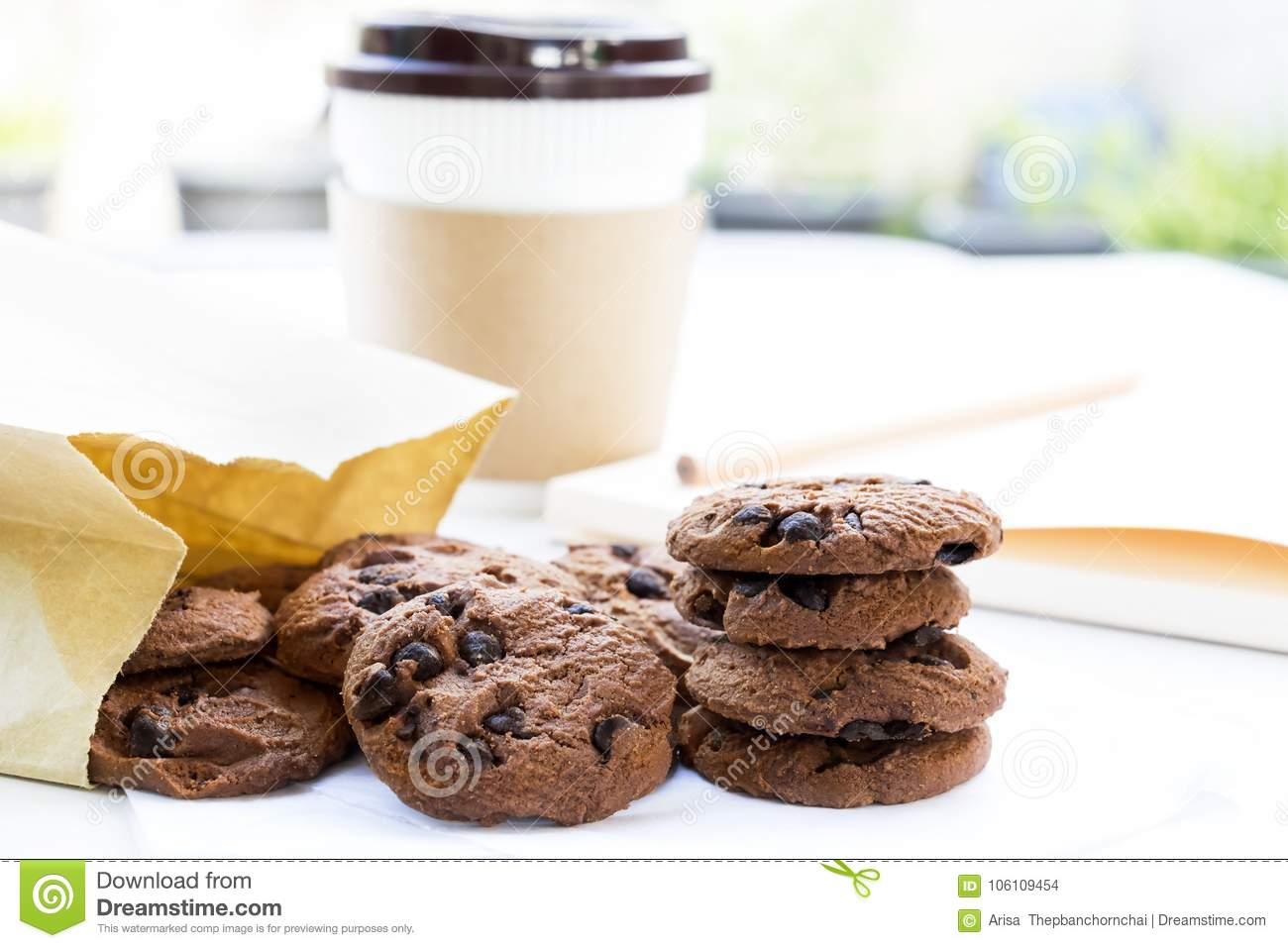 Traditional Chocolate Chip Cookies And Paper Bag With Cup Coffee ...