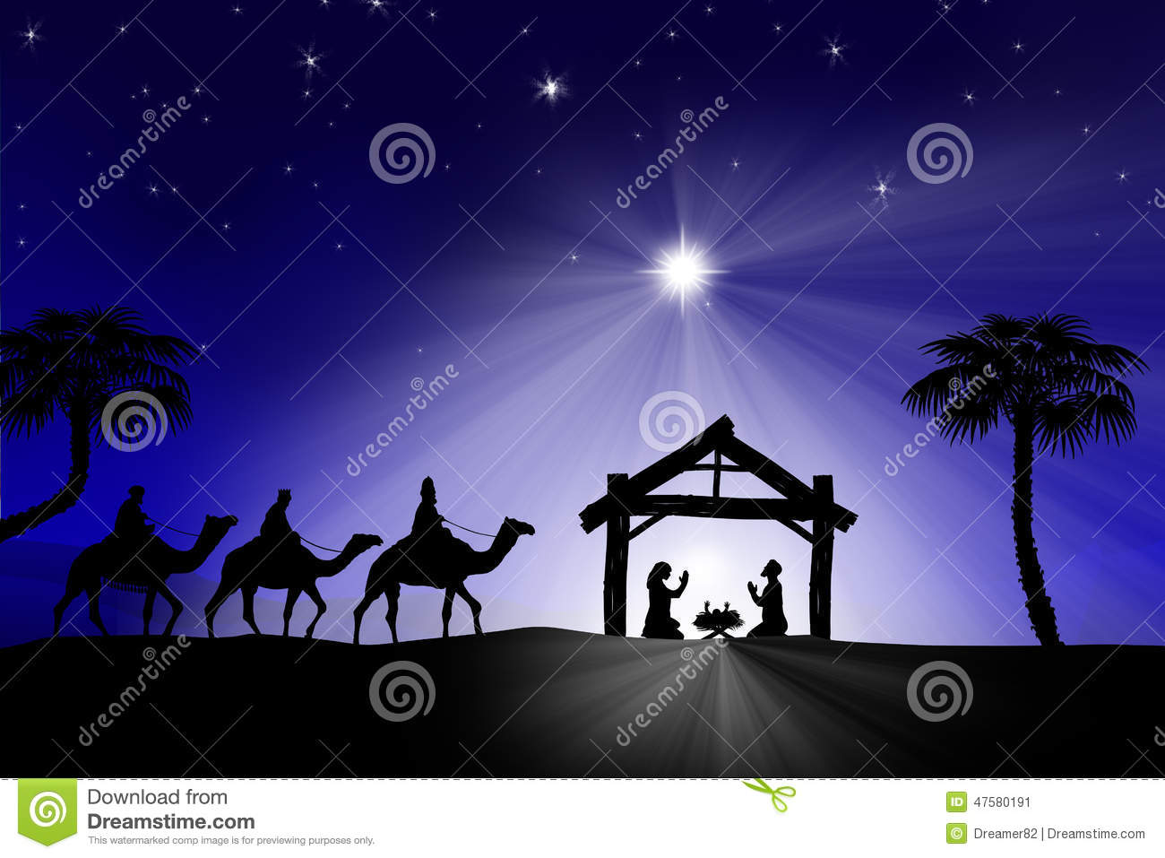 ... Nativity Scene With The Three Wi Stock Illustration - Image: 47580191