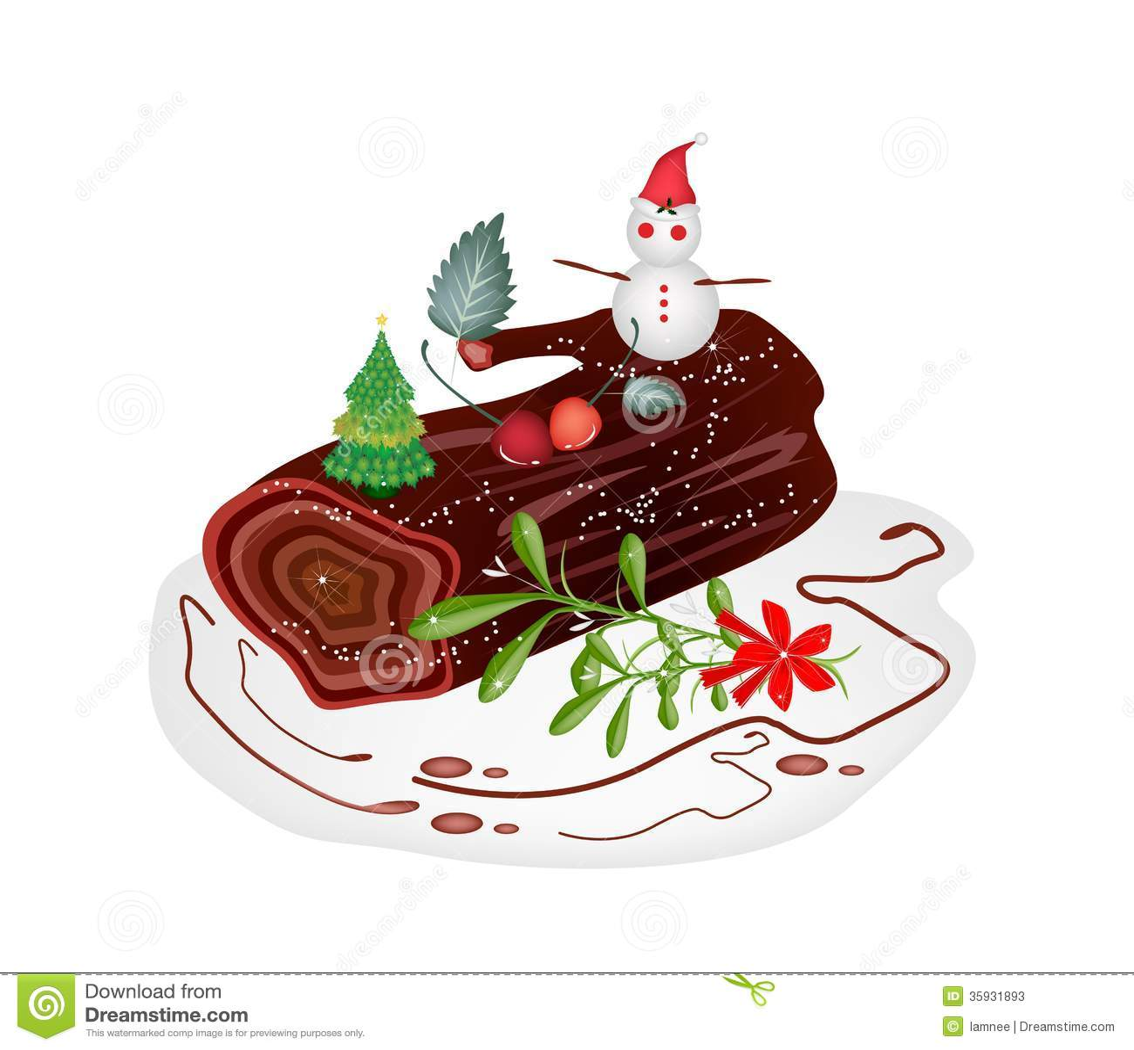 Traditional Christmas Cake Or Yule Log Cake. Stock Photos - Image ...