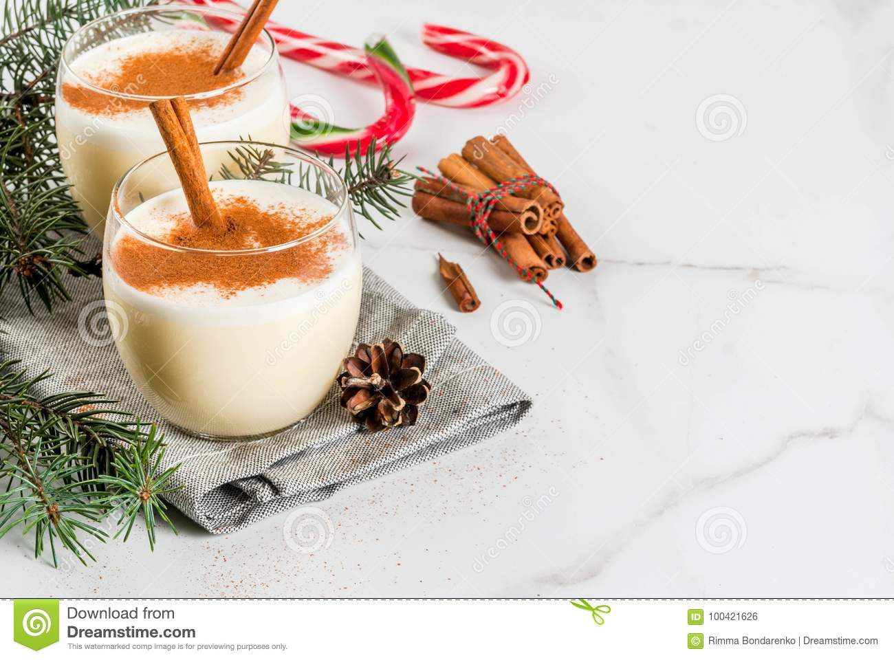 Traditional Christmas Drink Eggnog Stock Photo - Image of cones ...