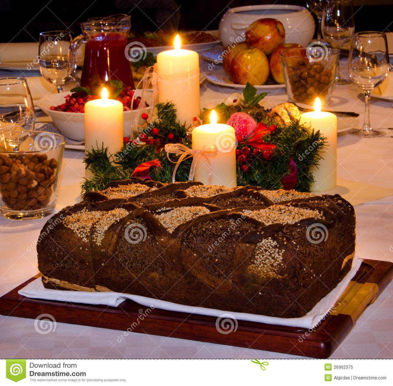 Traditional Christmas Eve Dinner Table Royalty Free Stock