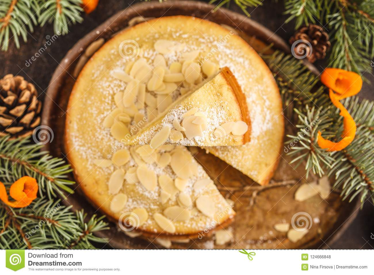 Traditional Christmas Norwegian Almond Pie In Christmas Decora Stock ...
