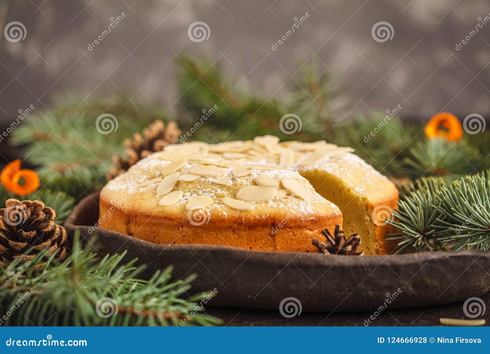 Traditional Christmas Norwegian Almond Pie In Christmas Decora Stock ...