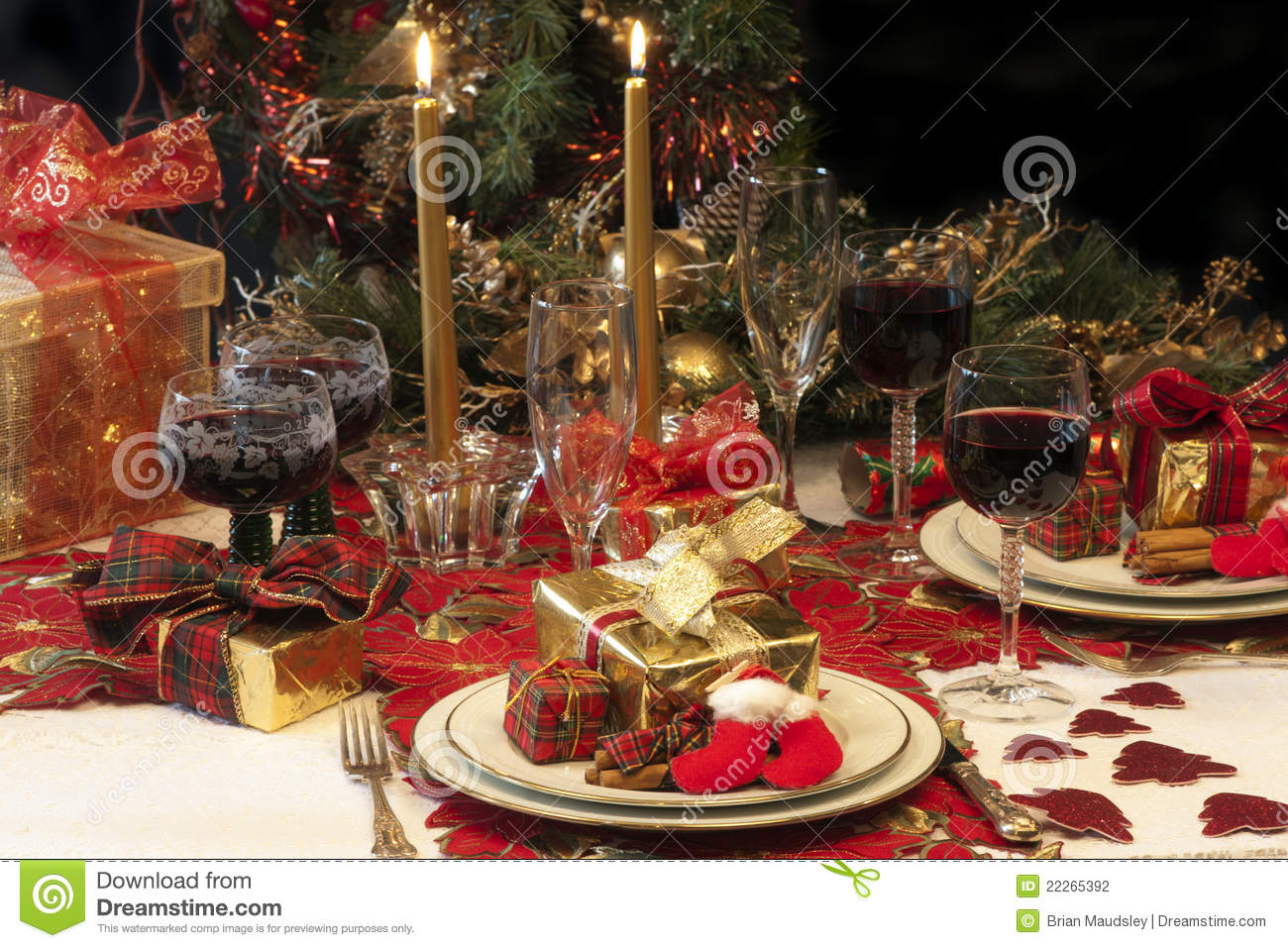 traditional christmas table setting stock photography