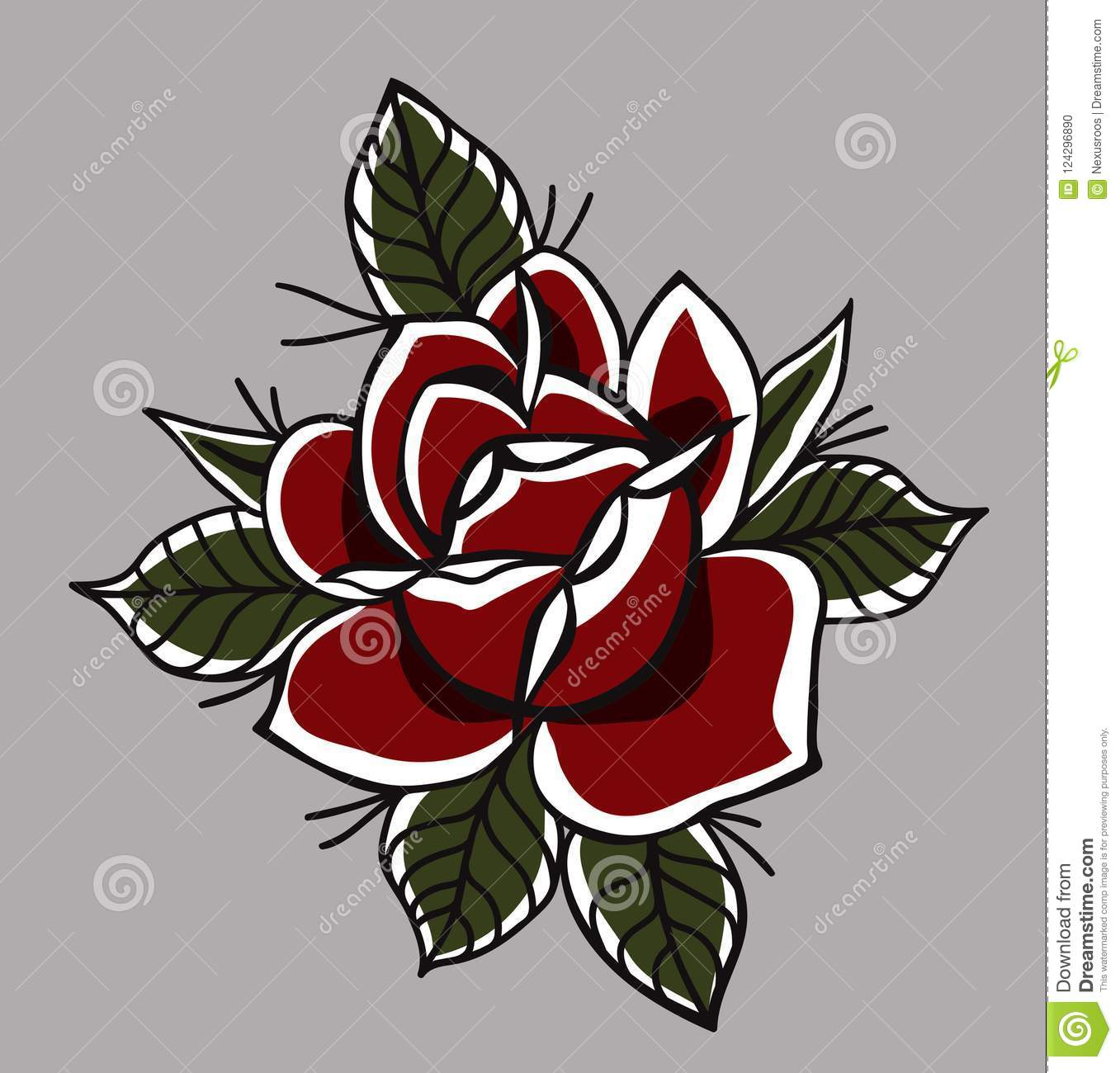 Traditional And Classic Tattoo Rose Stock Vector Illustration Of