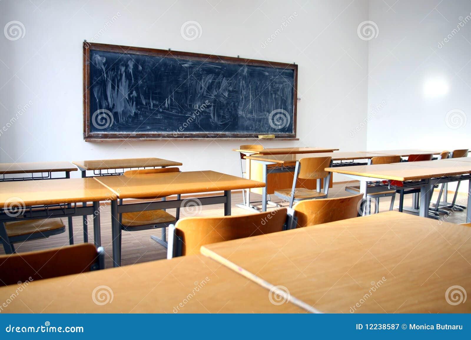 Classroom Blackboard Design ~ Traditional classroom interior with blackboard royalty