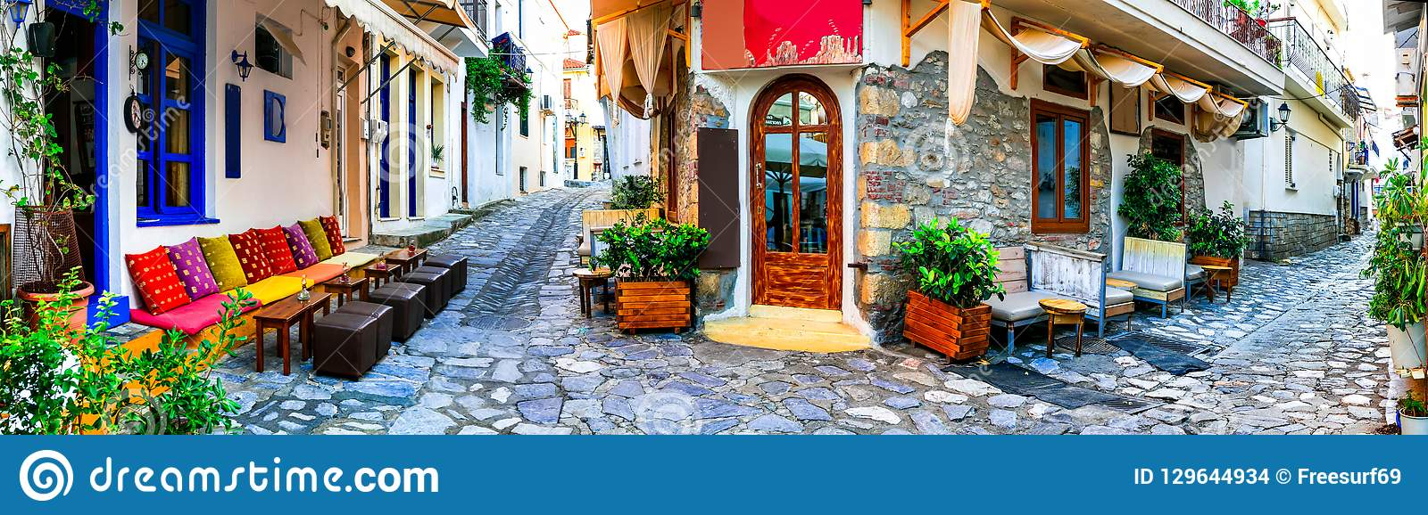 Traditional colorful Greece - charming old streets of Skiathos.