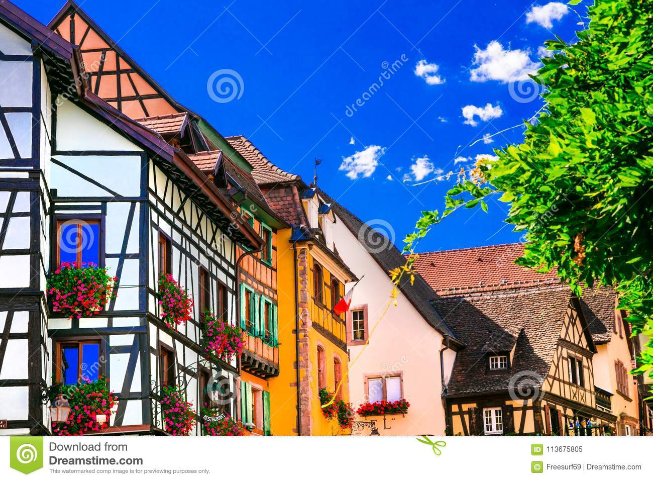 Colorful traditional villages of Alsace in France