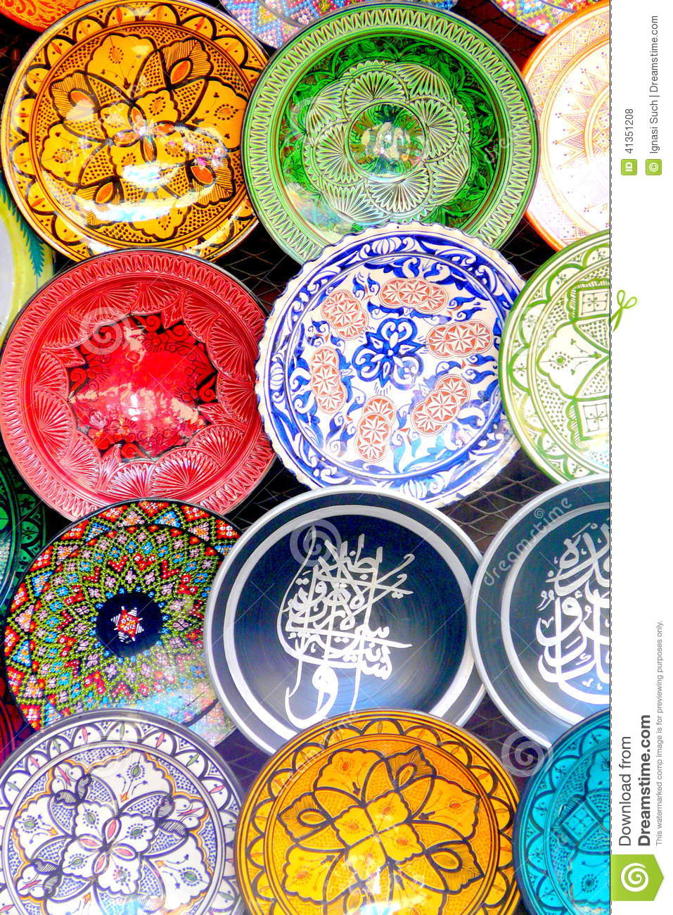 Traditional Colorful Moroccan Faience Pottery Dishes In A