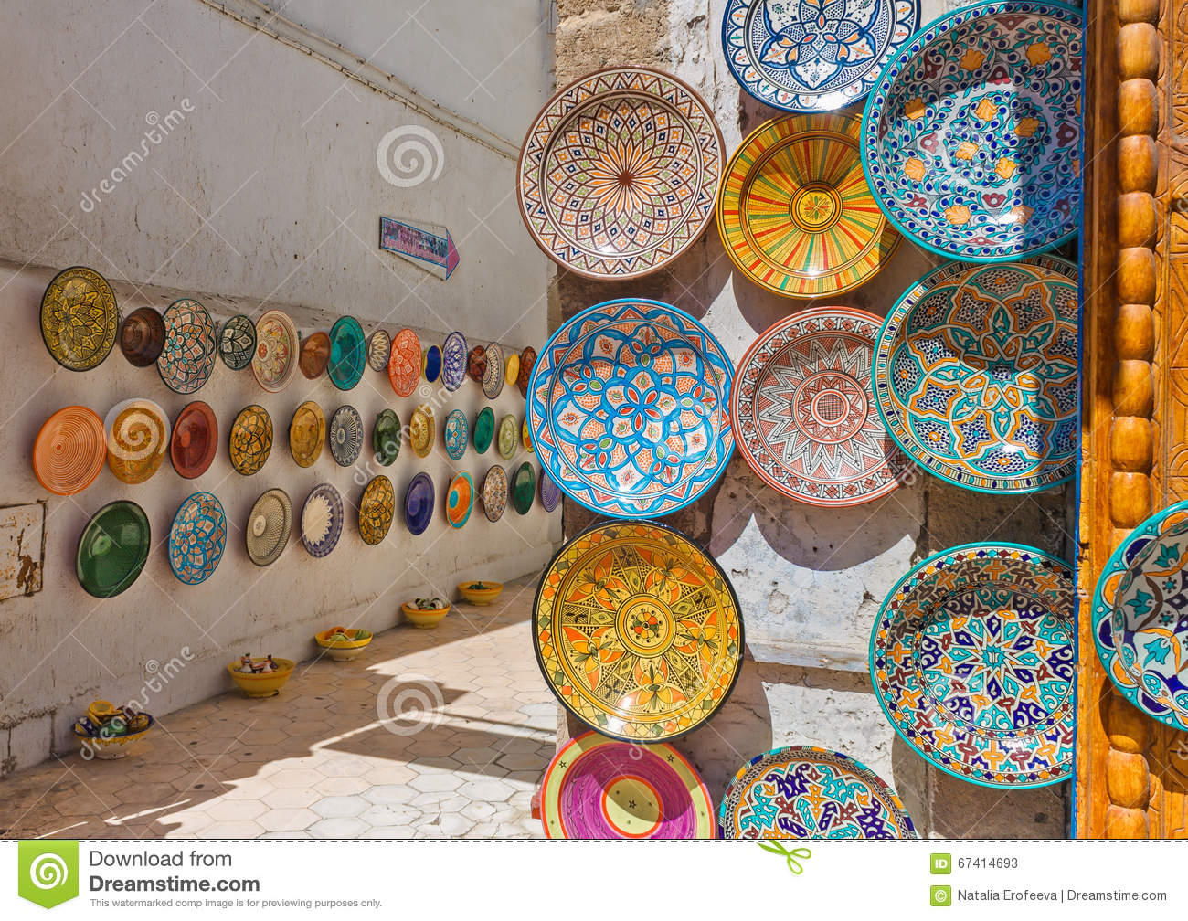 Traditional Colorful Moroccan Plates On The Street Walls Of Marrakesh Stock Image Image Of Market Marrakesh 67414693