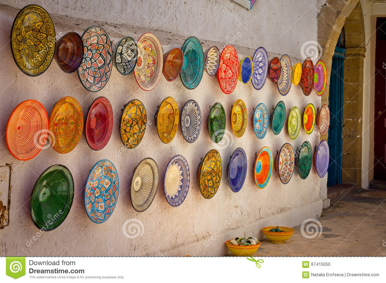 Traditional Colorful Moroccan Plates On The Street Walls Of Marrakesh Stock Photo Image Of Background Geometric 67415050