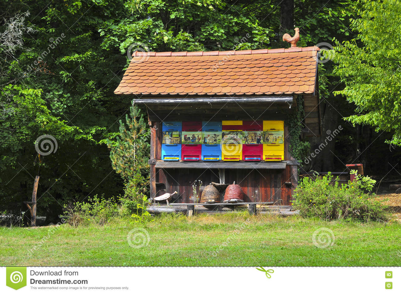 Traditional colorful and picturesque wooden bee hive in Slovenia