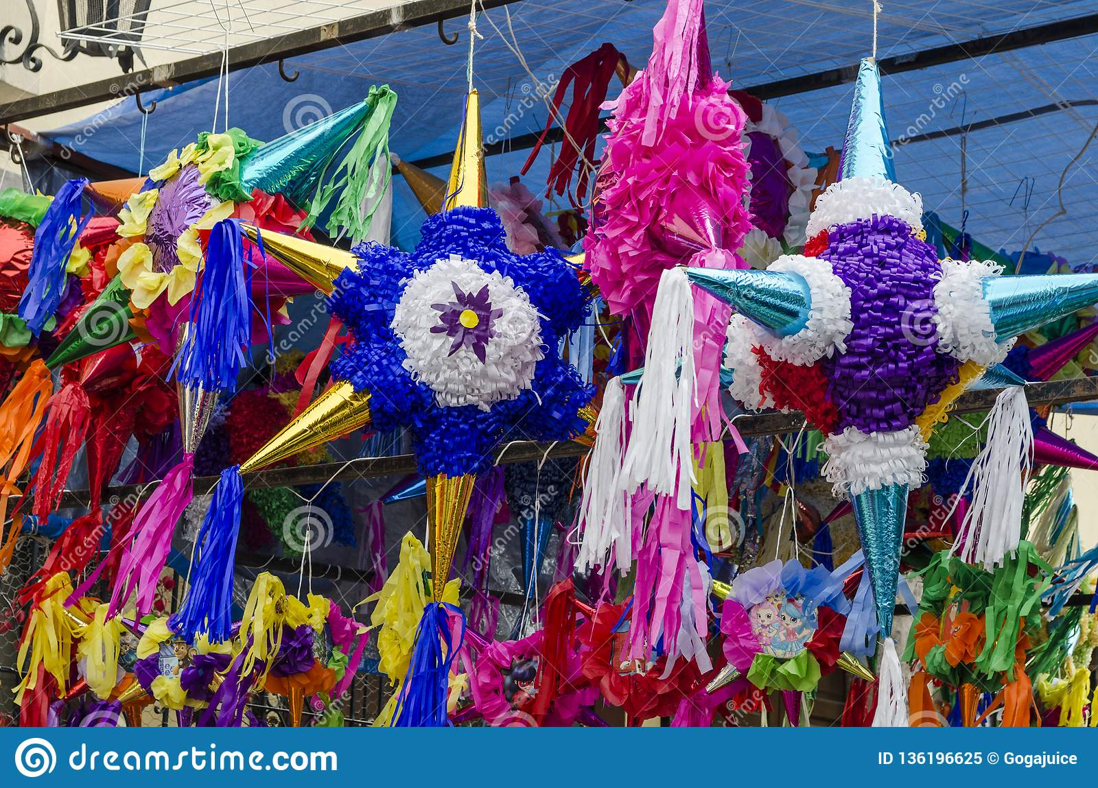 Traditional Colorful Pinata Star Shape From Mexico Stock Image