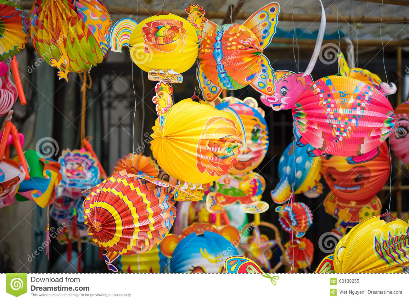 Traditional Colour Decorations In Mid Autumn Festival Of