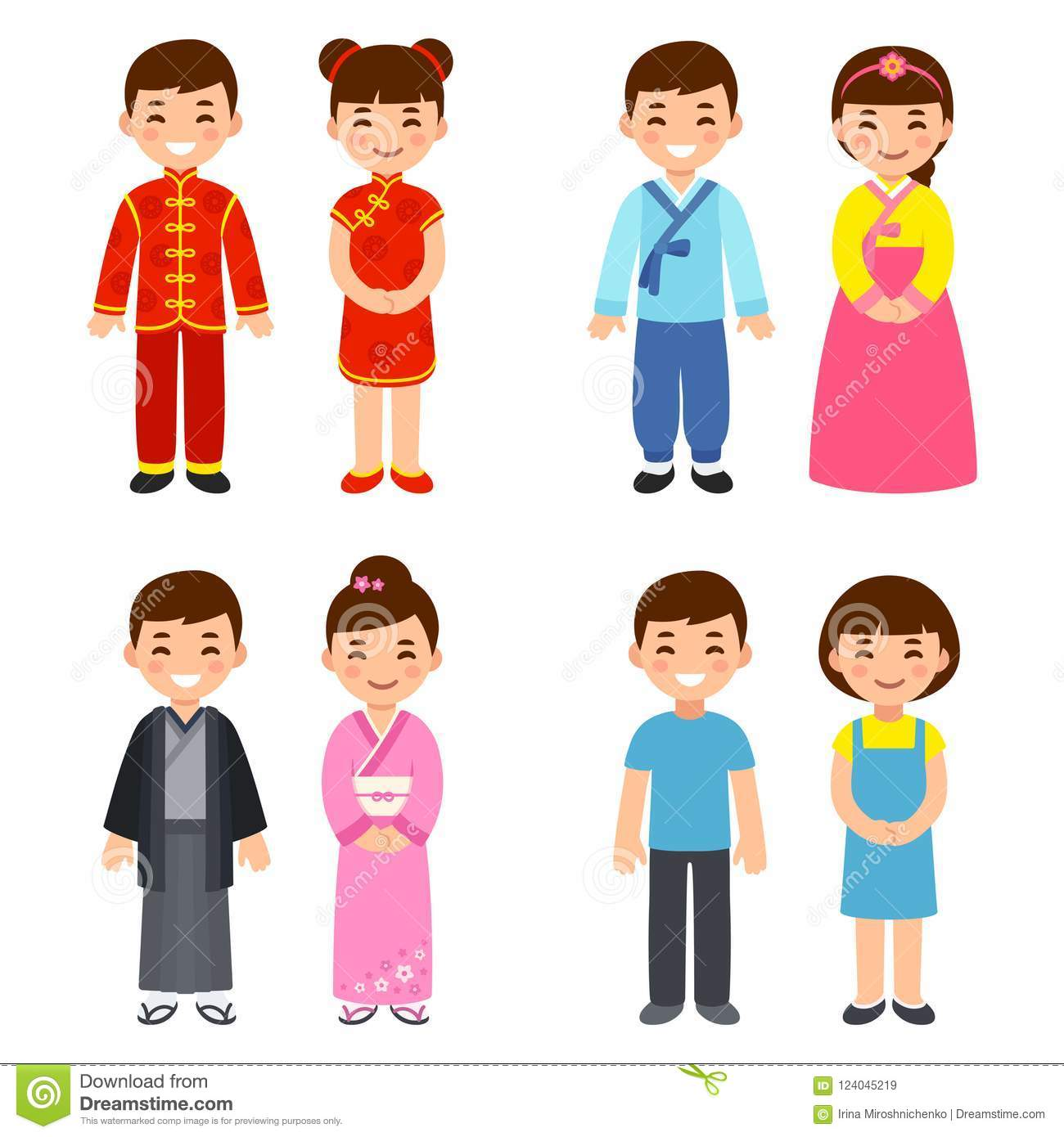 Traditional Costumes Of Asian Countries Stock Vector ...