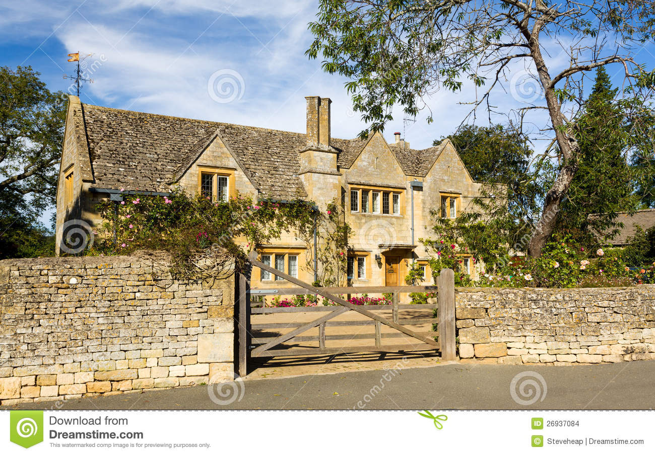 Traditional Cotswold Stone House Chipping Campden Stock