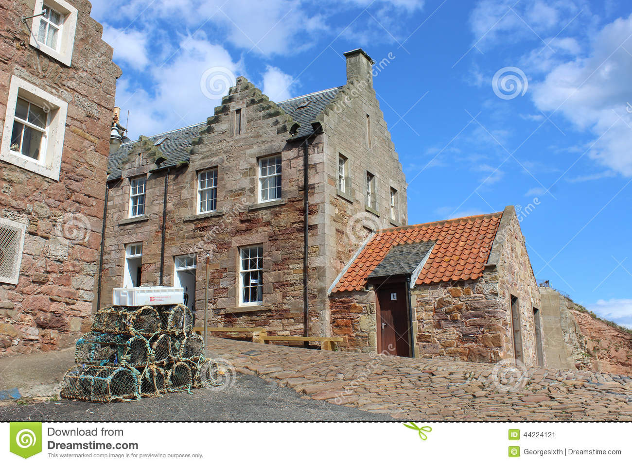 Traditional Cottages By Harbour Crail Scotland Editorial