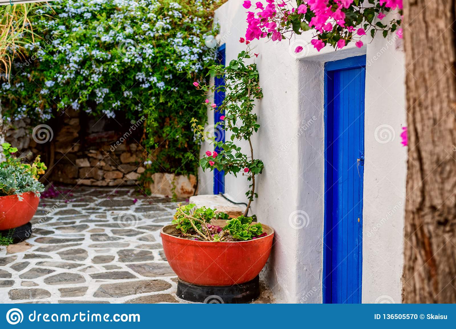 Traditional cyclades architecture on Island of Paros, Naoussa village. Greece