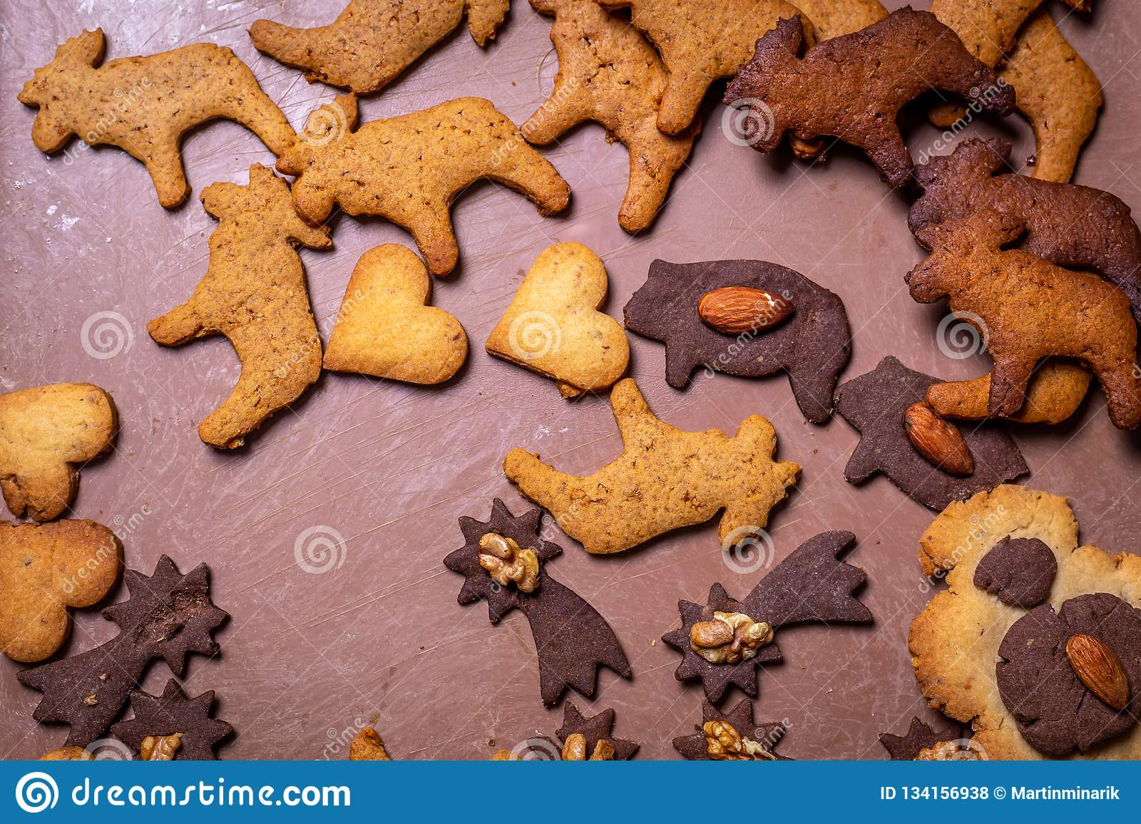 Traditional Czech Christmas Gingerbread Cookies On The Tray Stock
