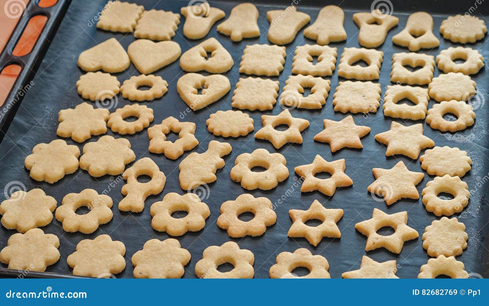 Traditional Czech Christmas Homemade Linzer Cookies On Baking Tin