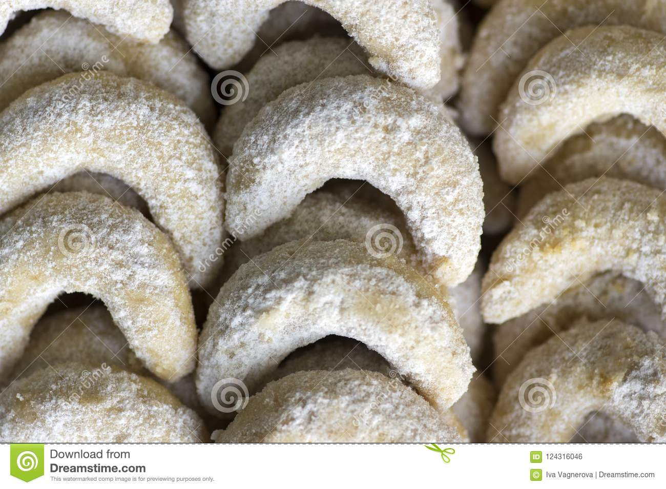 Traditional Czech Sweet Christmas Cookies Vanilla Rolls With White