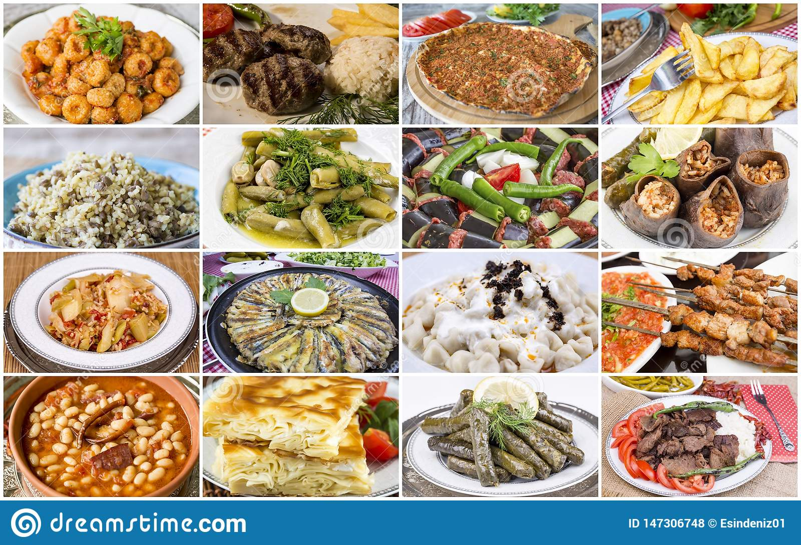 Traditional delicious Turkish foods collage. Food concept photo