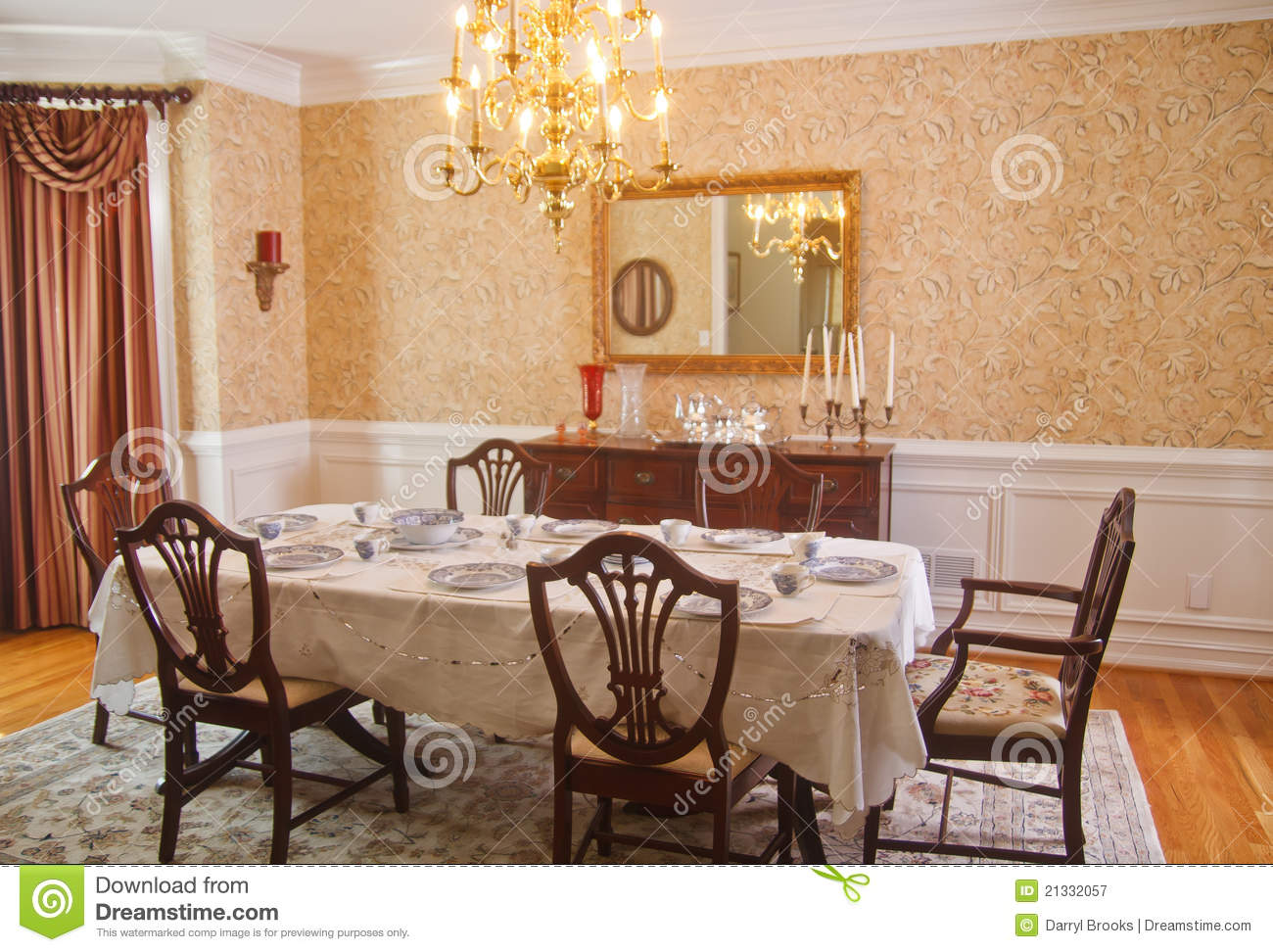Traditional Dining Room Stock Image Image Of Hardwood