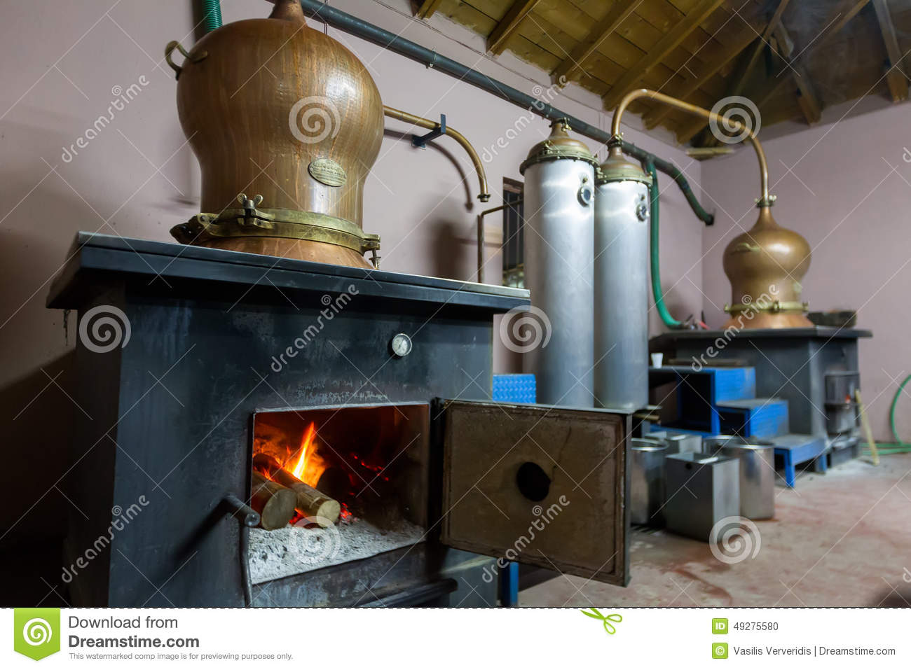 During traditional distillation of alcohol and production of hom