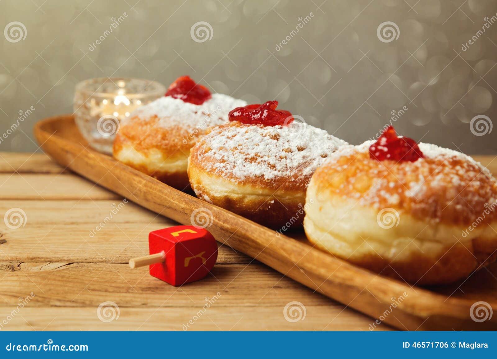 doughnuts for Jewish Holiday Hanukkah. Selective focus on the doughnut ...