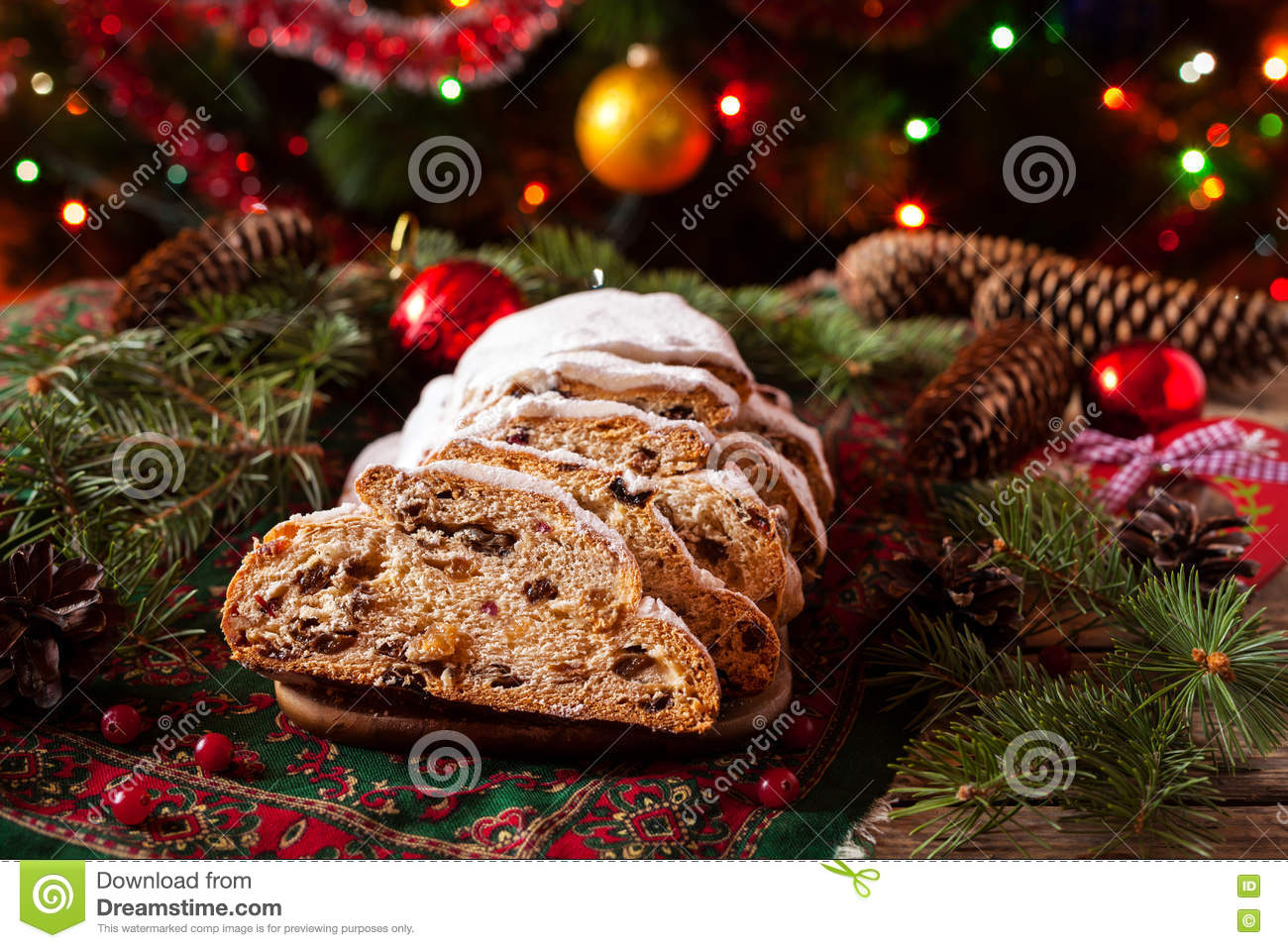 Traditional german christmas decorations - Traditional Dresdner German Christmas Cake Stollen With Raising Berries And Nuts Celebration Decorations