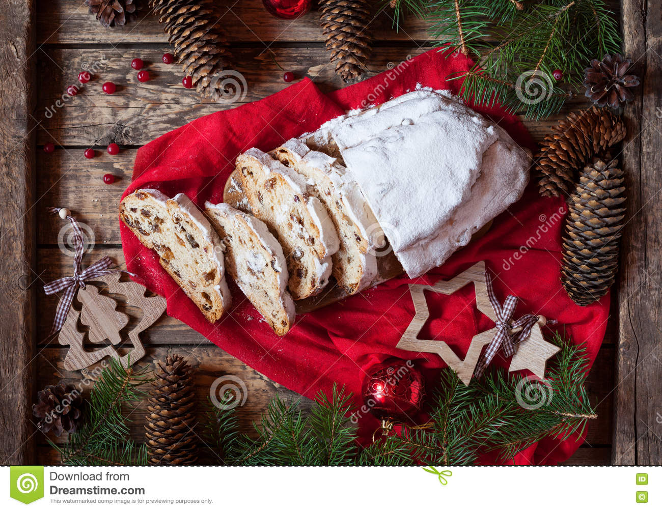 Traditional german christmas decorations - Traditional Dresdner German Christmas Cake Stollen With Raising Berries And Nuts Holiday Xmas Decorations