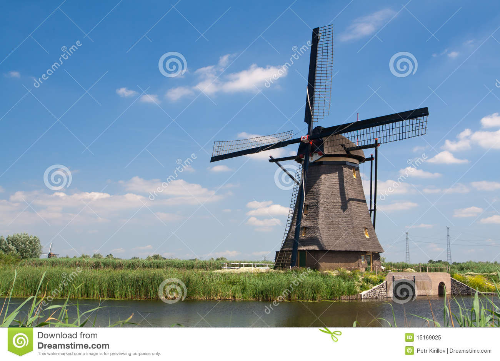 Traditional Dutch Windmill In Kinderdijk Royalty Free Stock Photo ...