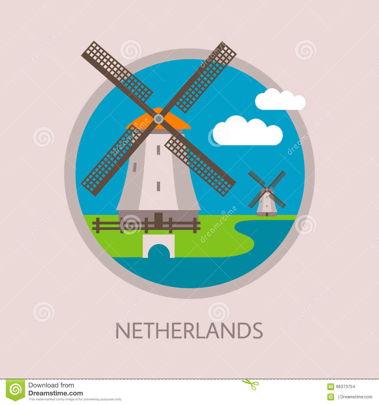 Traditional Dutch Windmills With Landscape And Clouds  Stock