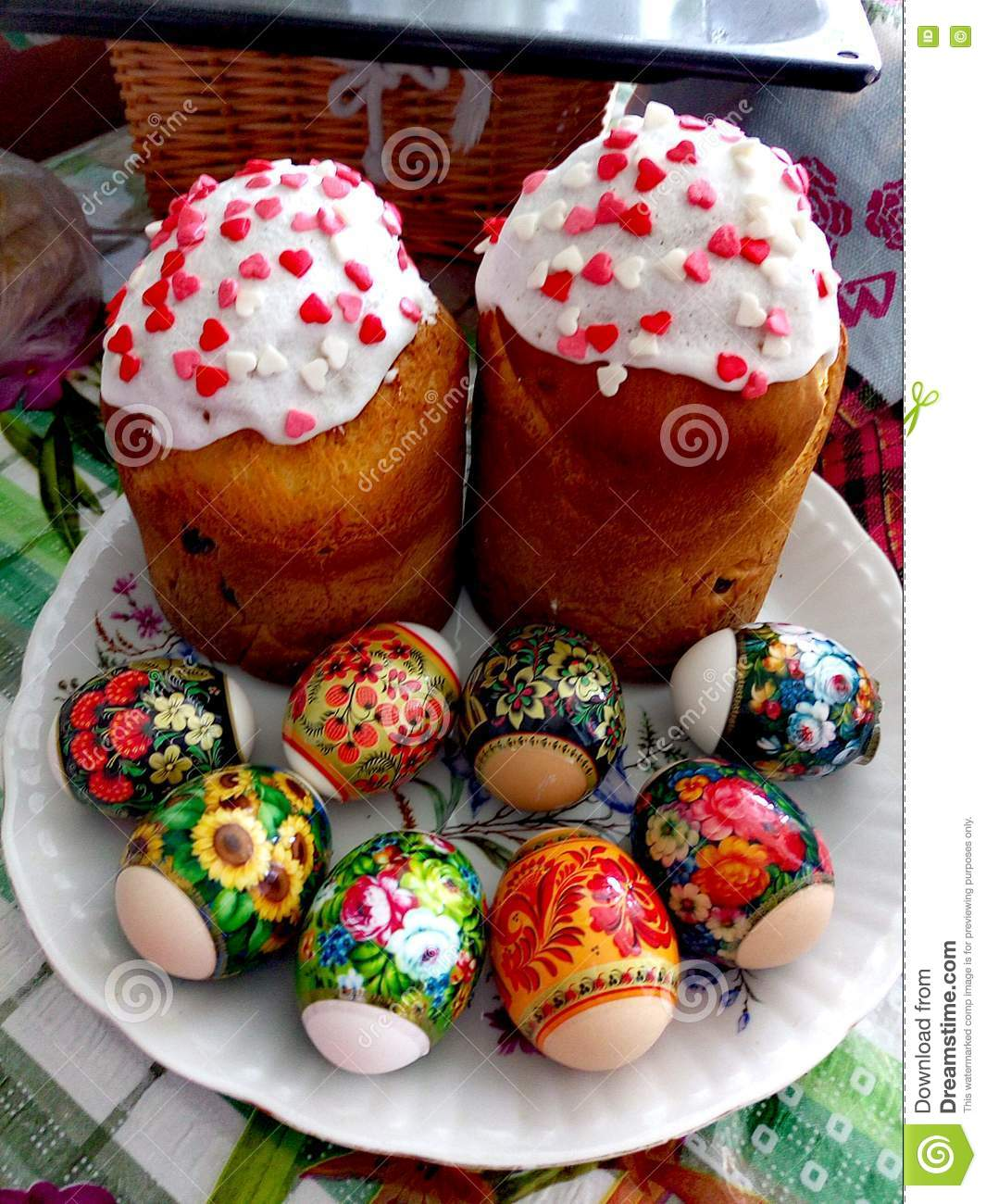 Traditional Easter Attributes In Ukraine Easter Bread Paska And