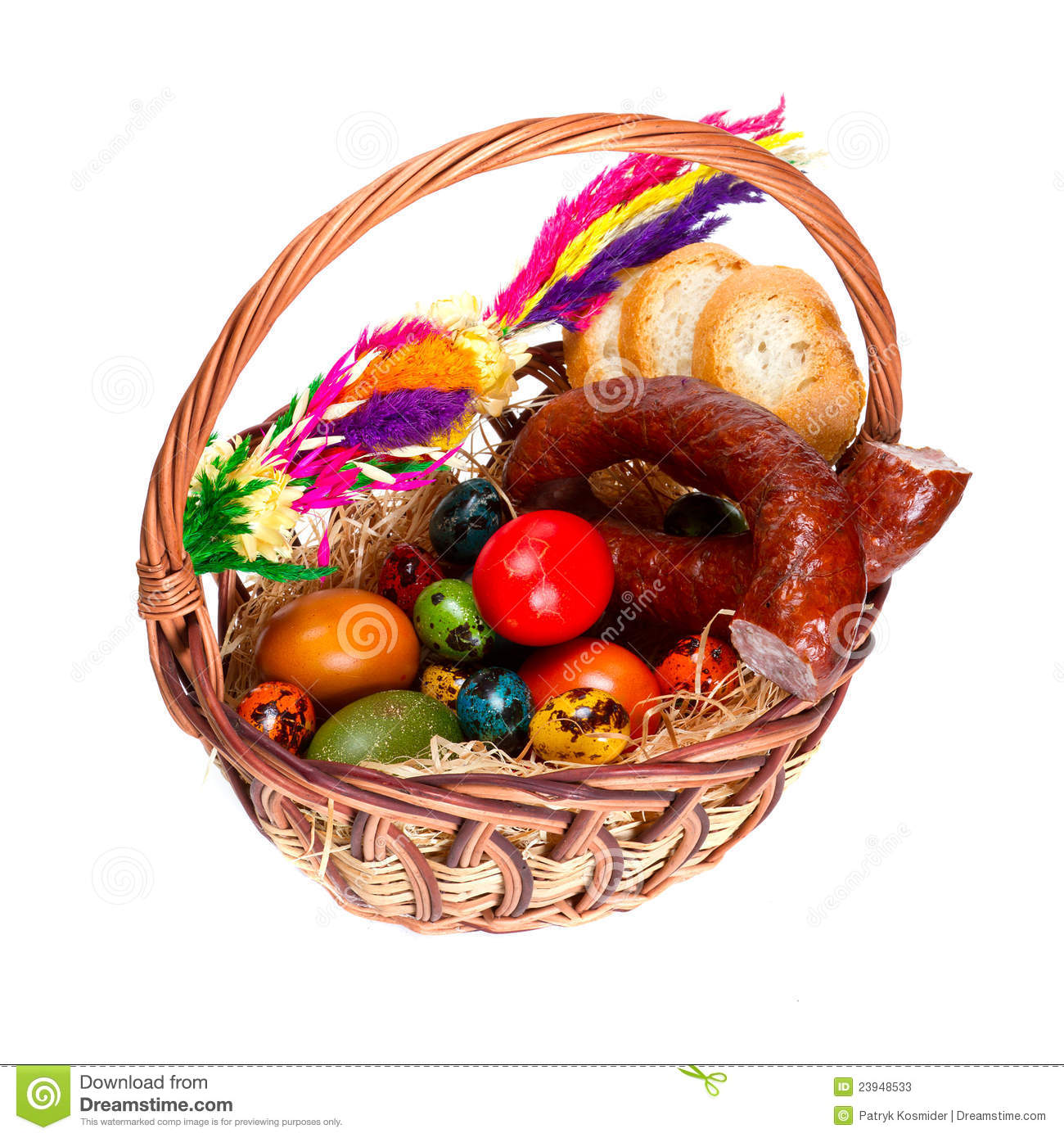 Traditional Easter Basket With Food Stock Photos Image