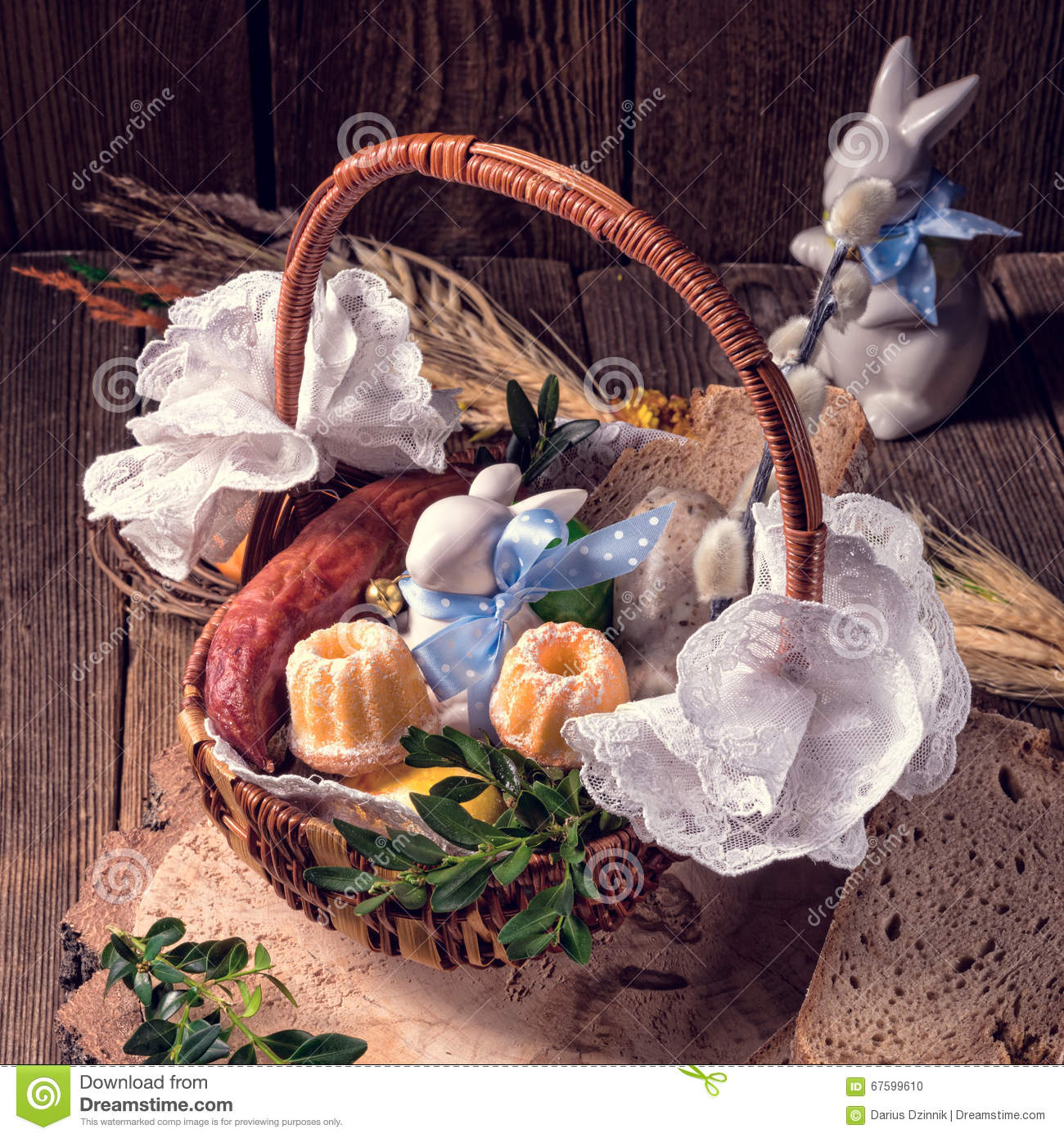 Traditional Easter Basket With Food Stock Photo Image