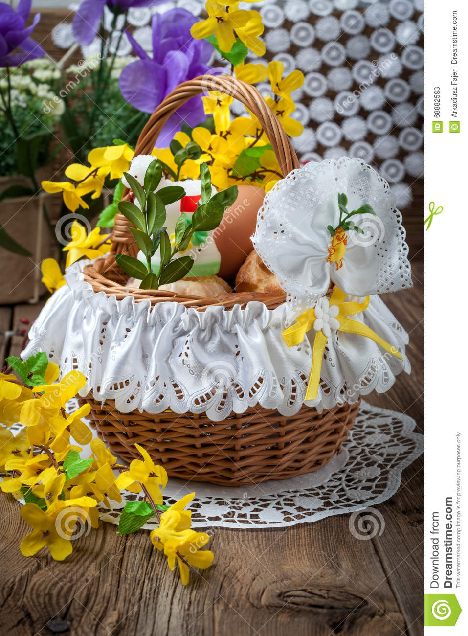 Traditional Easter Basket On Easter Table Stock Photo