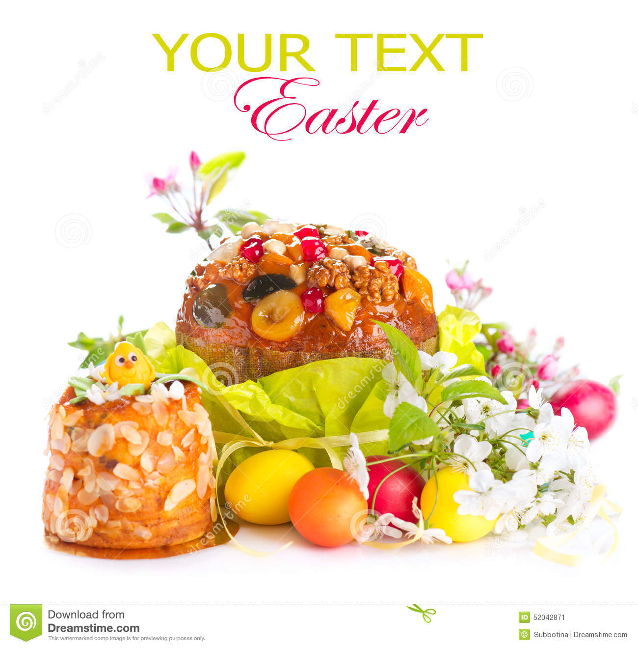 Traditional Easter cake and colorful painted eggs