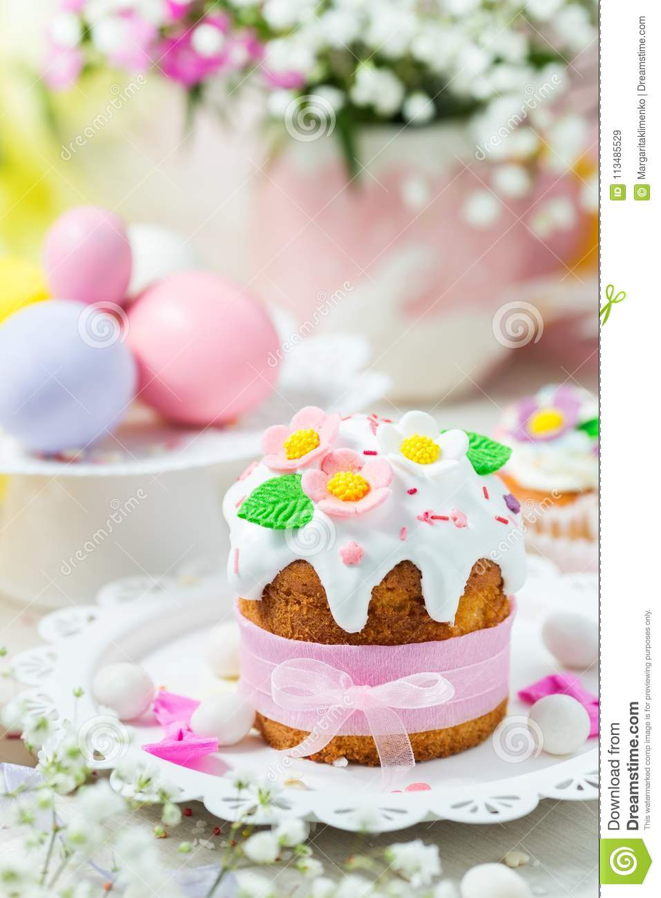 Traditional Easter Cake With White Icing Decorated Sugar Flowers And